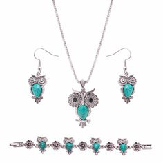 Owl Fashion Jewelry Statement Necklace Earrings Jewelry Sets Vintage Bohemia Choker Collar Accessories For Women