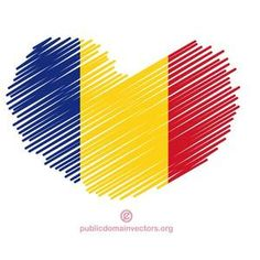Heart shape with scribbled lines colored in colors of the flag of Romania.
