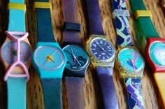 swatch watches- these were the coolest thing.  what was with the rubber band thingy we had to have over it???