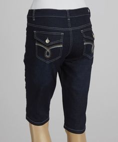 Love this Dark Blue Flap Pocket Denim Bermuda Shorts by Western Trading Company on #zulily! #zulilyfinds