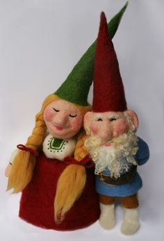 "Needle felted gnome by Laura Lee Burch 24"" tall"