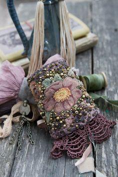 Boho fabric cuff bracelet with embroidery / Текстильный браслет-манжета с…