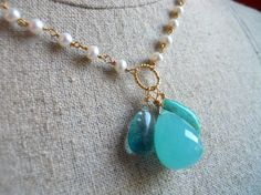 A Drop in the Ocean Chalcedony Fluorite Amazonite and Freshwater Pearl Teardrop necklace on Etsy, $148.00