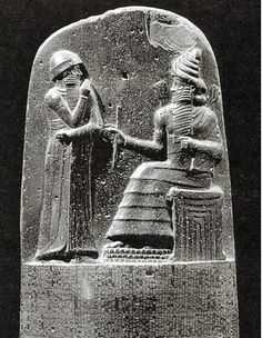 Law Code Stele of Hammurabi, king stands before the throne of the sun god
