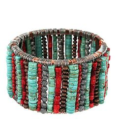 Love this Turquoise & Coral Hinge Bracelet on #zulily! Do this with ties ala Maker Faire!!