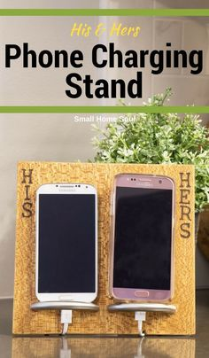 Control your cords with this easy DIY Phone Charging Stand. Make it a cool his and hers version or customize it any way you want. #phoneaccessories #cellphonesaccessories #cellphonestand #chargingstand