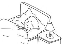 Good Night - Coloring Page  for kids to color in preschool and kindergarten, from www.kigaportal.com