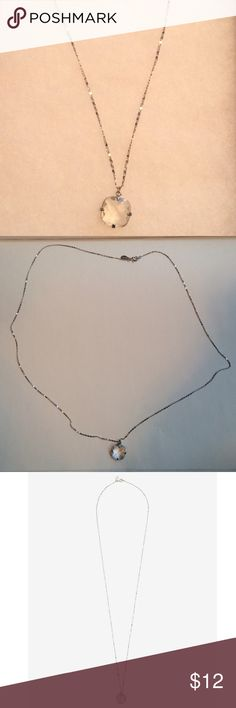 Faceted Square Stone Pendant Necklace 33 inches long. Goes great with a solid color shirt or dress Express Jewelry Necklaces