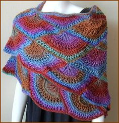 Gail Tanquary fan shawl. This is the most lovely modular shawl pattern and a joy to knit. Just about to finish mine in Rowan felted tweed! Free download too