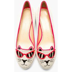 CHARLOTTE OLYMPIA Fluoresecnt Pink Canvas Sunkissed Kitty Embroidered Flats