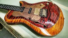 Knaggs Guitars Choptank T2 Trem Hollowbody HSS Single Purf in Burgundy Copper with curly Koa pick guard-