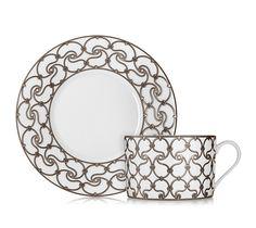 Hermès Fil d'Argent White breakfast cup and saucer, fl. Fil D Argent, Hermes Home, Apartment Chic, Mosaic Patterns, Art Deco Design, Earthenware, Interior And Exterior, Dinnerware, Decoration