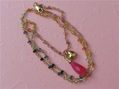 Sales  Rainbow Sapphire Necklace in 14K gold by NewelryJewelry, $48.00