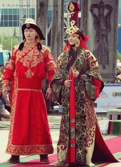 reconstruction of costumes of Mongolian king (Khan) and queen (Khatun)