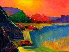 MOUNTAIN SUNSHINE Expressionism Seascape Oil Painting. Ken Kenneth John Pugh