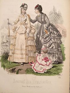 Victorian fashion plate from 1870 1870s Fashion, Edwardian Fashion, Vintage Fashion, Fashion Fashion, Fashion Jewelry, Victorian Women, Victorian Era, Victorian Dresses, Historical Costume
