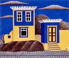 """steryios-mal: """" Nikos Engonopoulos Island house, In 1972 the album """"Greek Houses"""" was issued with 18 house drawings made by the surrealist painter and poet Nikos Engonopoulos. Classical Art, Art Prints, Greek Paintings, Surrealist, Niko, Painting, Morden Art, Color Of Life, Hellenistic Period"""