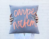 Carpe Noctem Pillow 12x12 inches, Grey and Hot Coral