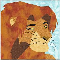 Lion King Simba paper piecing quilt patterns plus 6 other Lion King characters paper piecing patterns