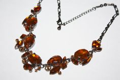 Vintage Amber  Rhinestone Necklace  1970s Jewelry by patwatty, $12.00