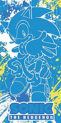 Sonic The Hedgehog Blue Spray Towel Beach or Bath Sega  Great Eastern In Stock!
