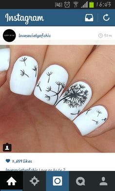 nail art dandelion white and black