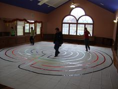 How to make a canvas Labyrinth for less than two-hundred dollars. Labyrinth Walk, Labyrinth Garden, Walking Meditation, Spiritual Disciplines, Spiritual Practices, Labrynth, Spiritual Formation, Prayer Stations, Prayer Room