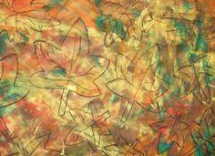 Mural fet amb un fons pintat amb rodet i puntures de colors. A sobre s'hi ressegueixen les siluetes que es desitgin en ceres negres.