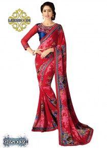 Alluring Red & Blue Coloured Saree