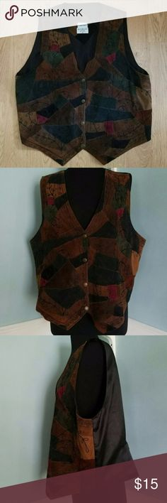 Vintage Leather Colorful Patchwork Vest, 2X Vintage leather suede vest - patchwork leather front in brown, blue and green with decorative leaf stitches throughout and black polyester back with adjustment strap for a perfect fit.   100% leather; 100% polyester back.  Size 2X by Fashion Bug. Fashion Bug Jackets & Coats Vests