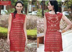 Vestido vermelho crochê grampo e normal