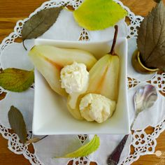 Lemongrass and ginger tea poached pears with coconut ice cream-If you enjoy warm Asian flavours such as can be found in light mango curries for instance, you will appreciate the combination of lemongrass, ginger and coconut in this Autumn inspired dessert.