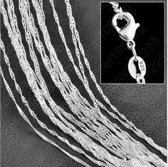 """1PC Fine Jewelry Findings 16""""-30"""" Necklace Chains 925 Sterling Silver 1.0MM  Wave Chain+Lobeter Clasp Jewellery Sets For Pendant"""