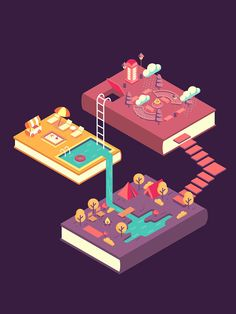 Drawing Design Illustration narrating how books can trigger one's imagination and take him/her to places. Isometric Drawing, Isometric Design, Isometric Shapes, Design Sites, Illustrator, Graphisches Design, Branding, 3d Drawings, Design Graphique