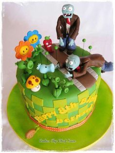 Looking for cake decorating project inspiration? Check out Plant vs Zombies by member Chef Sam. Zombie Birthday Cakes, Zombie Birthday Parties, Zombie Party, 12th Birthday, Pretty Cakes, Cute Cakes, Plantas Versus Zombies, Basic Cake, Unique Cakes