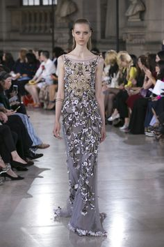 Evening Gown In Grey with Gold and Silver Beading by Georges Hobeika | Haute Couture Fall-Winter 2016-17 | Look 14