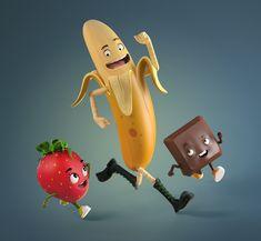 ArtStation - Fruits for Festival Banana Split, mauricio canon martinez