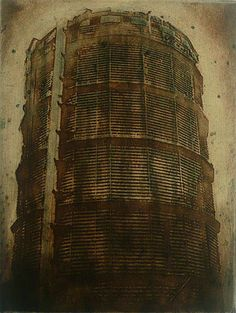 Jenny Robinson. Gasometer, 2010. Etching, spitbite, chine colle. Edition of 10. 8 x 6 inches.