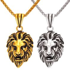 Punk Men Women Lion Head Necklaces & Pendants Byzatine Chain 18K Real Gold Plated 316L Stainless Steel Jewelry