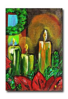Red Green Christmas Candle Glow Still Life Original by dhickerson