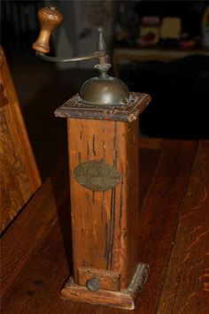 Early Antique Coffee grinder mill Primitive drawer maybe 18th century ?? wood