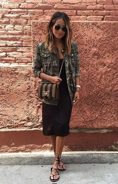 """JULIE SARIÑANA on Instagram: """"Easy breezy in a slip dress and our @shop_sincerelyjules camo jacket! 💚 / shopsincerelyjules.com"""" 