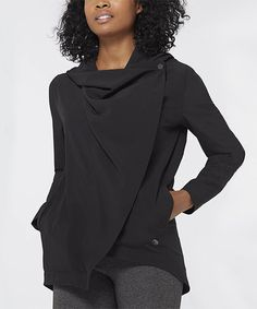 Another great find on #zulily! Black Wrap Hooded Top #zulilyfinds