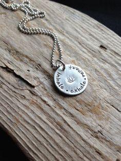Hand stamped necklaceQuote necklaceInhale Exhale by magpiedesignz