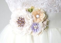 Wedding Dress Belt - Lilac and Blush Blossoms