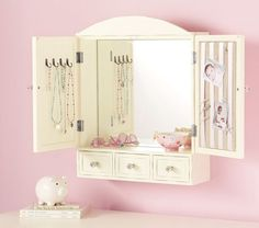 #potterybarnkids  Every little girl needs to have a place to put her jewels, so why not start at a very young age with this adorable wall mount jewelry armoire! A perfect place for all her diamonds!! Love it!!
