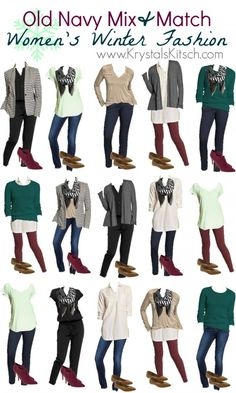 Old Navy Women's Winter Outfit Ideas Need help creating a winter wardrobe? Try Old Navy and add different outfits! From leggings to scarves and tunics to t-shirts, Old Navy offers a wide variety of styles. Look Fashion, Winter Fashion, Fashion Outfits, Fashion Ideas, Dress Fashion, Capsule Outfits, Capsule Wardrobe, Wardrobe Ideas, Mix Match Outfits