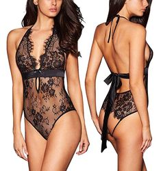 c0ab717c12 ALLoveble Women Sexy Lingerie See-Through Backless Lace Babydoll Open  Crotch Teddy Underwear Black (XL