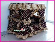 Posh Yorkie Pup Gorgeous Luxury Princess/Prince Pet Dog Cat Puppy Bed House LV Print Sz Medium Made to Order Puppy Room, Puppy Beds, Pet Beds, Doggie Beds, Luxury Dog House, Personalized Dog Beds, Dog House Bed, Diy Dog Bed, Dog Furniture