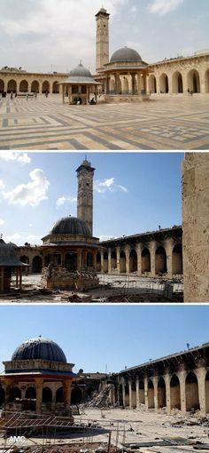 •Antigua Ciudad de Alepo (Siria): P.H 1986. En el cruce de rutas desde el 2ºMilenio A.C. Gobernada por Hities, Sirios, Árabes, Mongoles, Mamelucos y Otomanos. Característica por mansiones, palacios, caravasares, zocos y hammas. Amenazada por la guerra civil de Siria y por superpoblación. En marzo del 2013 La Gran Mezquita sufrió un bombardeo.  http://www.caracol.com.co/noticias/entretenimiento/una-ong-une-a-los-sirios-en-la-defensa-de-su-patrimonio-cultural-unico/20140425/nota/2194485.aspx